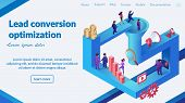 Conversion Optimization Strategy Development Isometric Vector Web Banner Or Landing Page. Clients Be poster