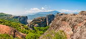 Meteora, Greece - June 16, 2013: Panoramic View On Scenic Meteora Landscape Rock Formations With Mon poster