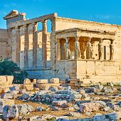 The Erechtheion temple with The Porch of the Caryatids on the Acropolis, Athens, Greece              poster
