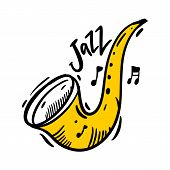 Jazz Festival Hand Drawn Vector Illustration. Perfect For Music Events, Jazz Concerts. poster