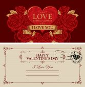 Two Sides Of A Valentine Card Or Postcard With A Red Heart And Roses. Romantic Vector Postcard In Vi poster
