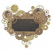 heart shape symbol from old brass gears with blank label isolated on white background poster