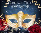 Golden Mask Carnival Card Vector. Masquerade Party. Mardi Gras Card Invitation. Carnival Glittering  poster