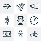 Activity Icons Line Style Set With Golf Field, Bullhorn, Heartbeat And Other Pitch Elements. Isolate poster