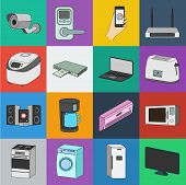 Smart Home Appliances Cartoon Icons In Set Collection For Design. Modern Household Appliances Vector poster