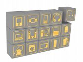 Cubes With Symbols Of Household Electronic Equipment. Many Gray Cubes With Golden Symbols Of Consume poster