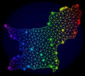 Bright Rainbow Mesh Vector Map Of Balochistan Province With Glare Effect. Abstract Lines, Triangles, poster