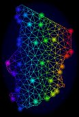 Bright Spectrum Mesh Vector Map Of Chad With Glare Effect. Abstract Lines, Triangles, Light Spots Fo poster