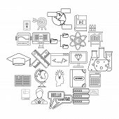 College Icons Set. Outline Set Of 25 College Vector Icons For Web Isolated On White Background poster