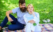 Pure Nature. Couple With Green Leaf Relax Natural Environment. Couple Bearded Man And Woman Enjoy Na poster