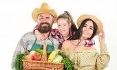 Harvest Festival Concept. Family Farmers Gardeners Vegetables Harvest Isolated White Background. Fam poster