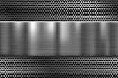 Metal Plate On Perforated Texture. 3d Shiny Iron Background. Vector 3d Illustration poster