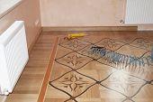 Oak Wood Parquet Batten Installation. Close Up On Wooden Batten Installation And Repair On Oak Wood  poster
