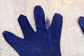 Workshop Of Hand Making A Fleece Gloves From Blue Merino Sheep Wool Using Wet Felting Process - Addi poster