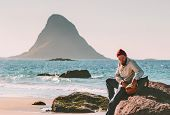 Man With Backpack Relaxing On Beach Sea Summer Trip Vacations Travel Tourist Lifestyle Adventure Jou poster