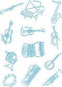 image of musical instrument string  - Abstract vector illustration of music instruments on white - JPG