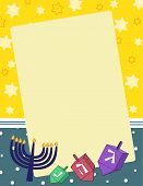 stock photo of dreidel  - A  vector illsutration of dreidels and menorahs on a blank notepad background - JPG
