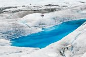 picture of crevasse  - Blue ice pools on Mendenhall Glacier in Juneau Alaska - JPG