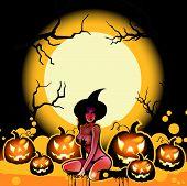 Постер, плакат: Хэллоуин ведьмы и тыквы на Луне