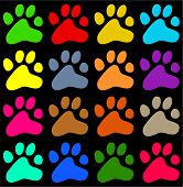 stock photo of paw-print  - colorful decorative animal paw print background wallpaper pattern - JPG