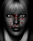 stock photo of serial killer  - Close up of a sinister female serial killer covered in blood - JPG