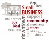 picture of awning  - Small Business word cloud with main street store graphic to encourage shopping at small and local businesses - JPG