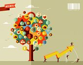 stock photo of teamwork  - Marketing teamwork business rising arrow concept tree  - JPG