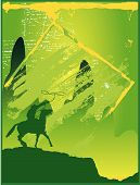 pic of bucking bronco  - a cowboy riding into the sunset in the colour green - JPG