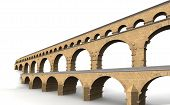 stock photo of aqueduct  - The Pont du Gard is a Roman aqueduct in southern France - JPG
