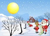 picture of rudolph  - Illustration of a reindeer beside Santa Claus with his list - JPG