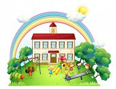 stock photo of playground school  - Illustration of the kids playing at the playground on a white background - JPG