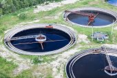 image of wastewater  - Group of wastewater filtering tanks in treatment plant
