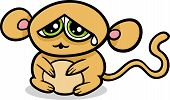 stock photo of kawaii  - Cartoon Illustration of Kawaii Style Cute Sad Monkey - JPG
