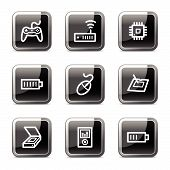 Electronics Web Icons Set 2, Black Square Glossy Buttons Series