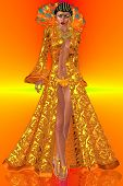 pic of opulence  - This is a rendition of a gorgeous woman dressed in an exquisite orange robe enhanced with a set of opulent feathers on an orange and yellow background - JPG