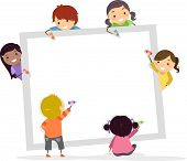 stock photo of stickman  - Illustration of Stickman Kids Writing with Crayons on a Blank Square Board - JPG