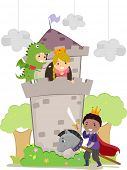 stock photo of dragon  - Illustration of Stickman Kids plays Dragon - JPG