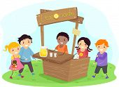 stock photo of stickman  - Illustration of Stickman Kids on a Lemonade Stand - JPG