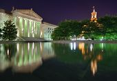 Nashville War Memorial Auditorium and Tennessee State Capitol in Nashville, Tennessee, USA.