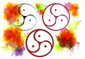 image of triskelion  - Bdsm Symbol different variations and color splashes - JPG