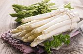 stock photo of white asparagus  - white and green asparagus - JPG