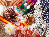 foto of castanets  - Espana typical from Spain with castanets rose fan comb bullfighter and flamenco dress - JPG