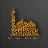 Holy month of muslim community Ramadan Kareem background with illustration of mosque.