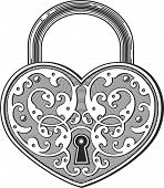 stock photo of backround  - Vector illustration of vintage heart shaped love padlock in engraved style on transparent backround - JPG