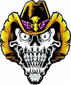 stock photo of outlaw  - vector illustration of skull and cowboy hat on white background - JPG