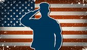 foto of soldier  - US Army soldier saluting on grunge american flag background vector - JPG