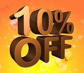 stock photo of tens  - Ten Percent Off Representing Savings 10 And Save - JPG