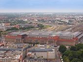 picture of leipzig  - Aerial view of the city of Leipzig in Germany with the Hauptbahnhof central station - JPG