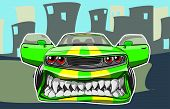foto of muscle-car  - Vector illustration of a sports car in a cartoon style - JPG
