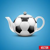 foto of teapot  - Background of Ceramic teapot in the form of football ball - JPG